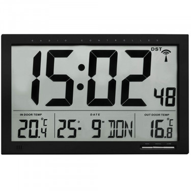 Crosse Xl Radio Controlled Wall Clock, Atomic Wall Clock With Indoor Outdoor Temperature And Humidity