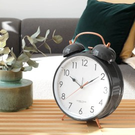 Oversized Grey Twin Bell Alarm Clock 29.5cm