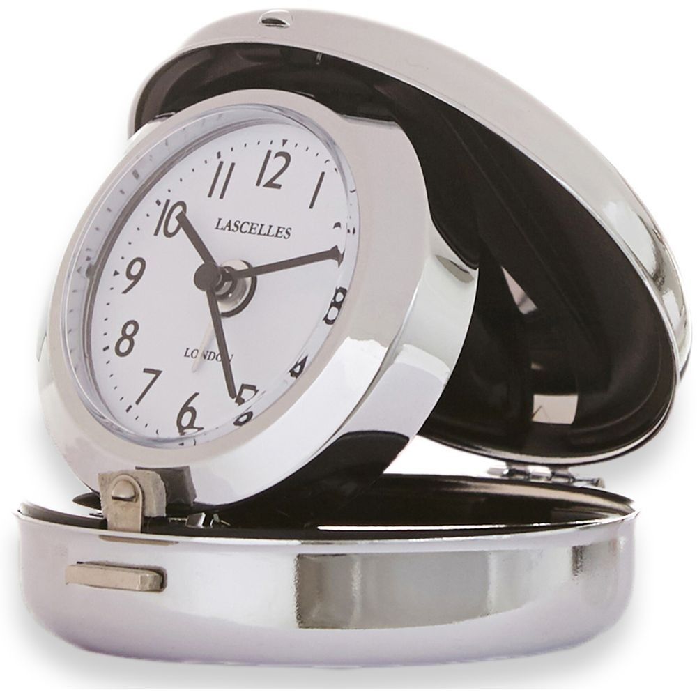compact chrome travel alarm clock 7cm. Black Bedroom Furniture Sets. Home Design Ideas