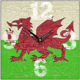 Welsh Flag Wall Clock 28.5cm