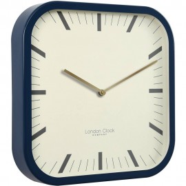 Square Navy Wall Clock 30cm