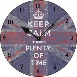 Union Jack Keep Calm Plenty Of Time Wall Clock 36cm