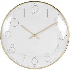 Round Wall Clock Chrome Plated - Gold 30cm