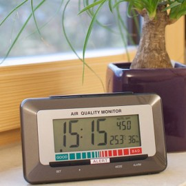 Radio Controlled Alarm Clock with Air Quality Monitor 15cm