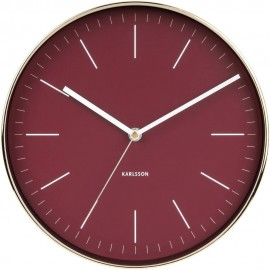 Minimal Red Wall Clock 27.5cm