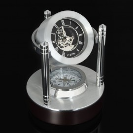 Mantel Clock Mini Skeleton Movement Compass Style 11cm