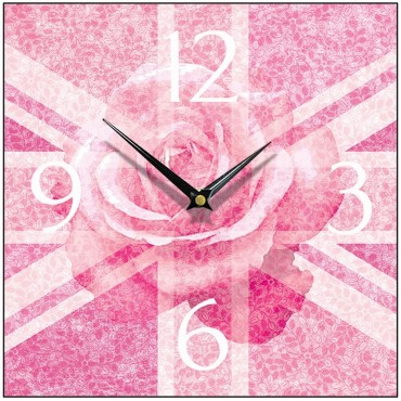 Union Jack Pink Rose Wall Clock 28.5cm