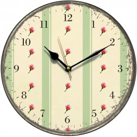 Retro Green Stripes And Rosebuds Wall Clock 28.5cm