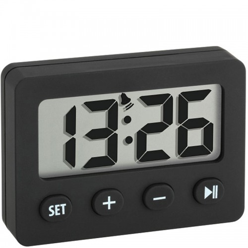compact digital alarm clock with timer and stopwatch 6cm. Black Bedroom Furniture Sets. Home Design Ideas