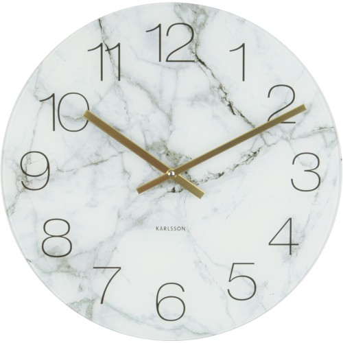 Marble White Table Clock 17cm
