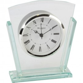 2 Layered Silver Bezel Glass Mantel Clock 13.5cm
