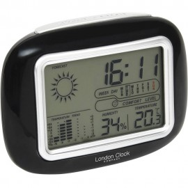 Black Weather Station Alarm Clock 13cm