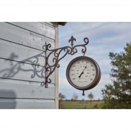 Marylebone Station Outdoor Wall Clock with Thermometer 34cm
