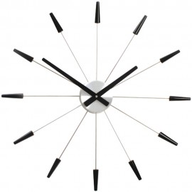 Black Spoke Wall Clock 58cm