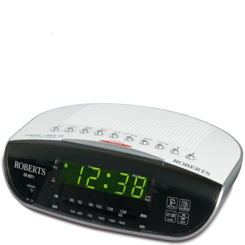 roberts radio chronologic vi dual alarm clock with fm mw radio. Black Bedroom Furniture Sets. Home Design Ideas