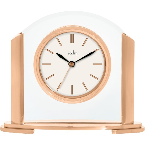 Riccia Rose Gold Mantel Clock 18cm