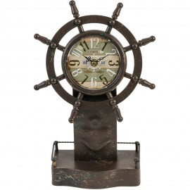 Mantel Clock Ships Wheel 22.5cm