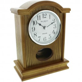 Oak Finish Wooden Mantel Clock Broken Arch Top Silver Bezel 16.5cm