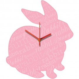 Pink Rabbit Wall Clock 31cm