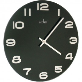 Mika Black Glass Wall Clock 30cm