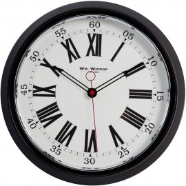 Round Metal Case Wall Clock Black & Chrome Roman Dial 30cm