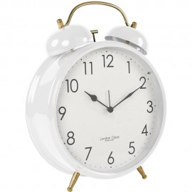 Oversized White Twin Bell Alarm Clock 29.5cm