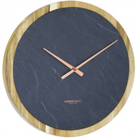 Carbon Wall Clock Wood 35cm