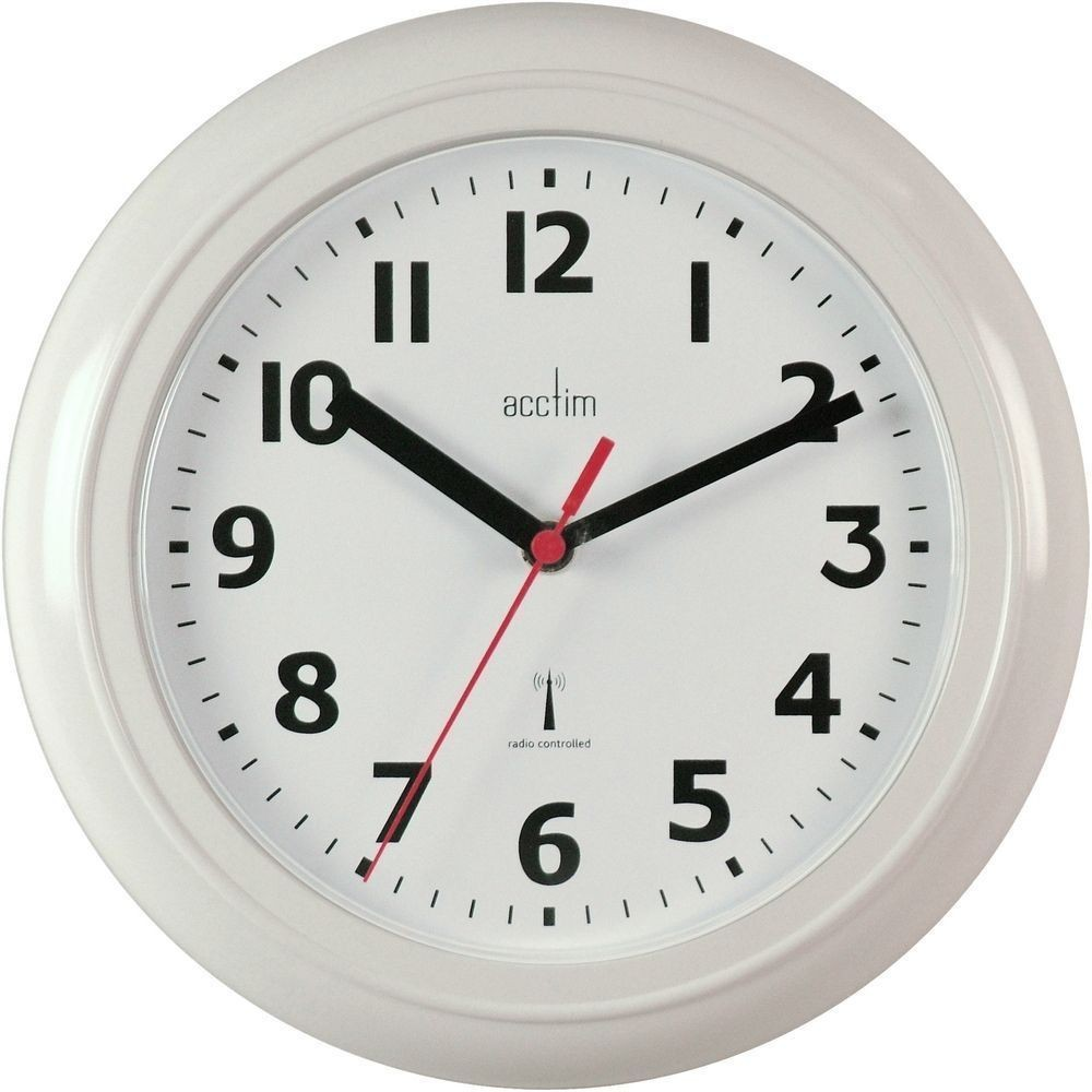 Parona white radio controlled wall clock 23cm amipublicfo Image collections