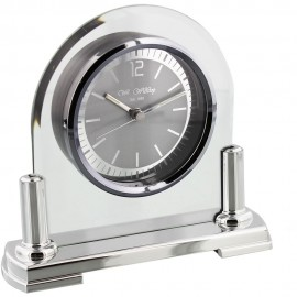 Glass Mantel Clock Silver Bezel & Stand 16cm