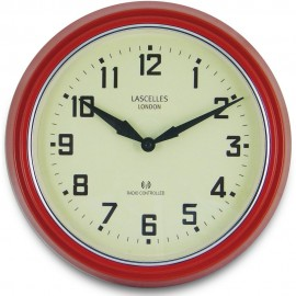 Retro Red Radio Controlled Wall Clock 30cm