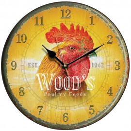 Wood's Poultry Feed Cockerel Wall Clock 28.5cm