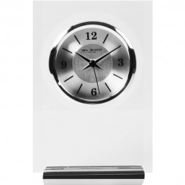 Glass & Aluminium Rectangle Mantel Clock 12.5cm