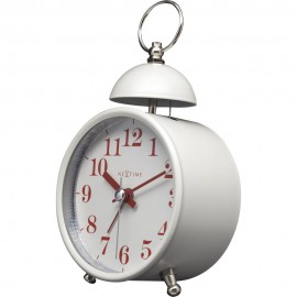 Single Bell White Alarm Clock 16cm