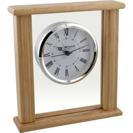 Wood & Glass Mantel Clock Roman Dial Silver Bezel 16cm