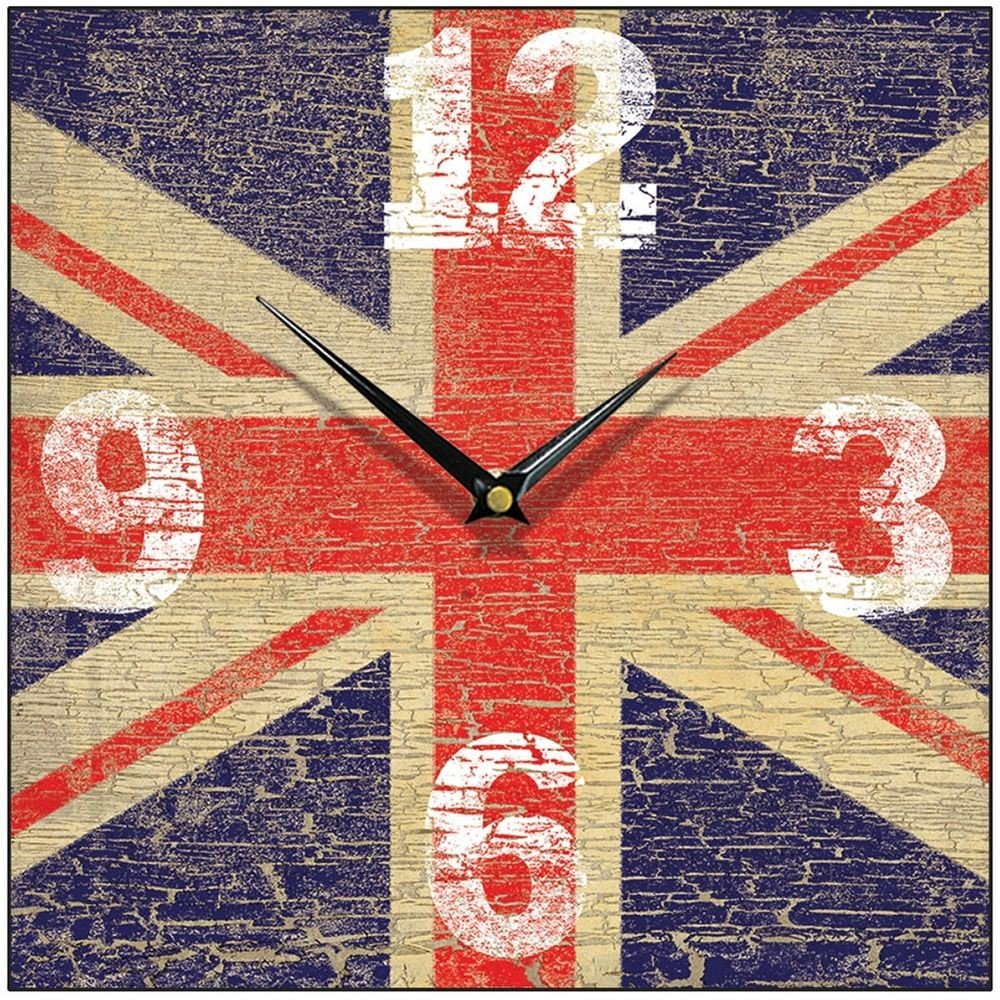 Union jack wall clock 285cm vintage union jack wall clock 285cm amipublicfo Images