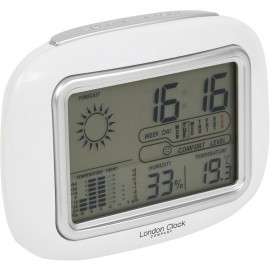 White Weather Station Alarm Clock 13cm