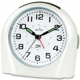 Europa White Silent Sweeping Alarm Clock 11cm