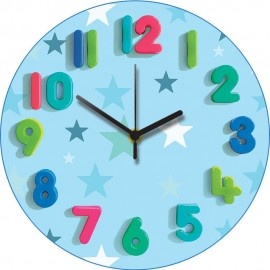 Blue Stars Wall Clock 30.5cm