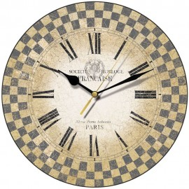Blue French Check Wall Clock 28.5cm