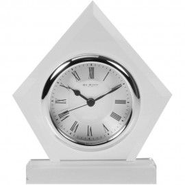 Glass Mantel Clock Diamond Shape 15cm