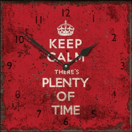 Large Square Keep Calm Plenty Of Time Wall Clock 45cm