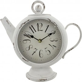 Teapot Shaped Mantel Clock Arabic Dial - White 31cm