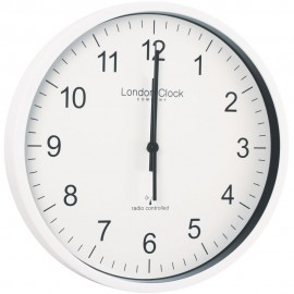 Radio Controlled White Office Wall Clock 30.5cm
