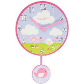 Birds Wall Clock With Pendulum 40cm
