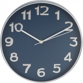 Plastic Case Wall Clock Silver & Blue 30.5cm