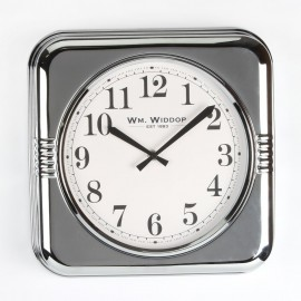 Square Metal Case Wall Clock Chrome Finish 32cm