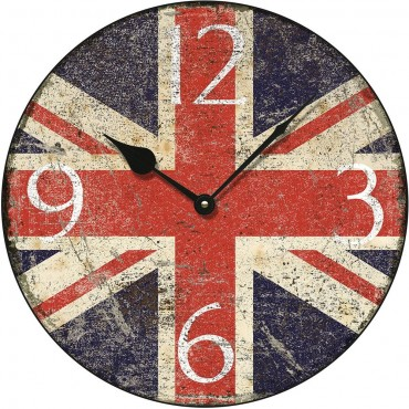 Shabby Chic Union Jack Wall Clock 36cm