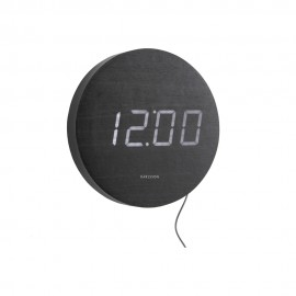 Round Wood Veneer Black, White Led Wall Clock 20cm