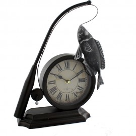 Metal Mantel Clock - Fishing Rod & Fish 26cm