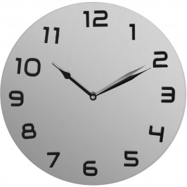Glass Wall Clock Arabic Dial - Silver 35cm